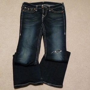 EUC True Religion Joey Bootcut Distressed Jeans